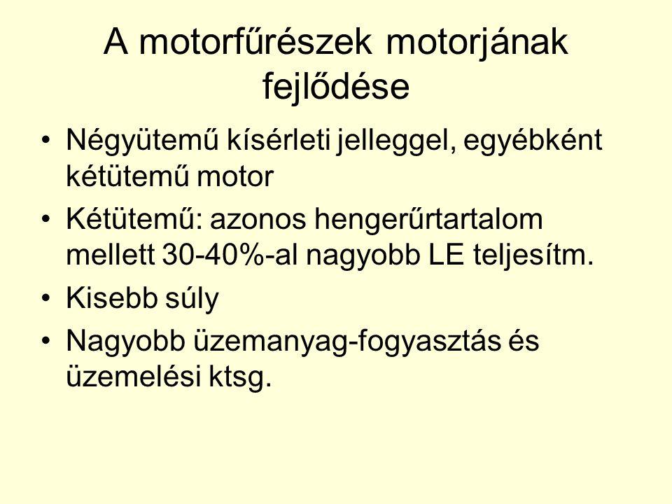 A motorfűrészek motorjának fejlődése •Négyütemű kísérleti jelleggel, egyébként kétütemű motor •Kétütemű: azonos hengerűrtartalom mellett 30-40%-al nag
