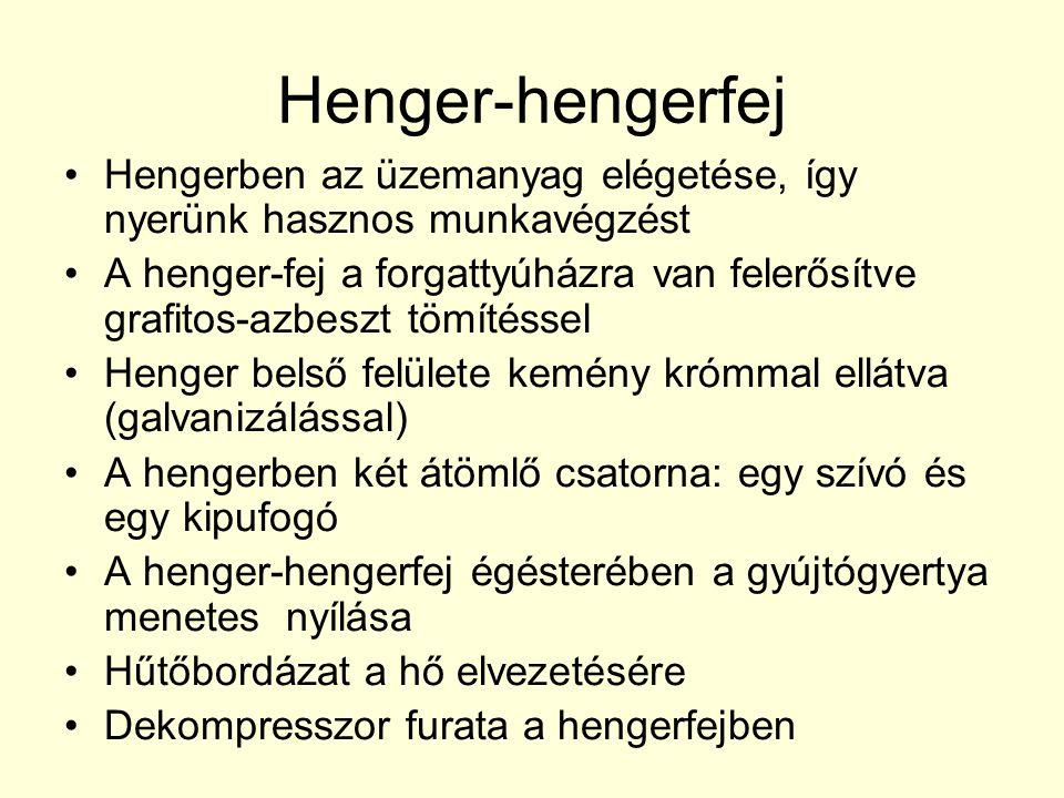 Henger-hengerfej •Hengerben az üzemanyag elégetése, így nyerünk hasznos munkavégzést •A henger-fej a forgattyúházra van felerősítve grafitos-azbeszt t