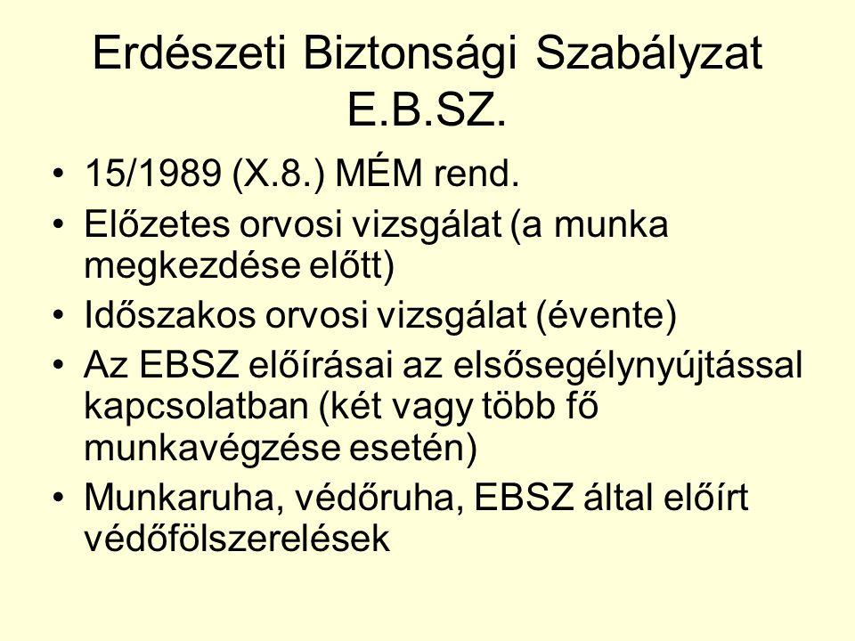 Erdészeti Biztonsági Szabályzat E.B.SZ. •15/1989 (X.8.) MÉM rend. •Előzetes orvosi vizsgálat (a munka megkezdése előtt) •Időszakos orvosi vizsgálat (é