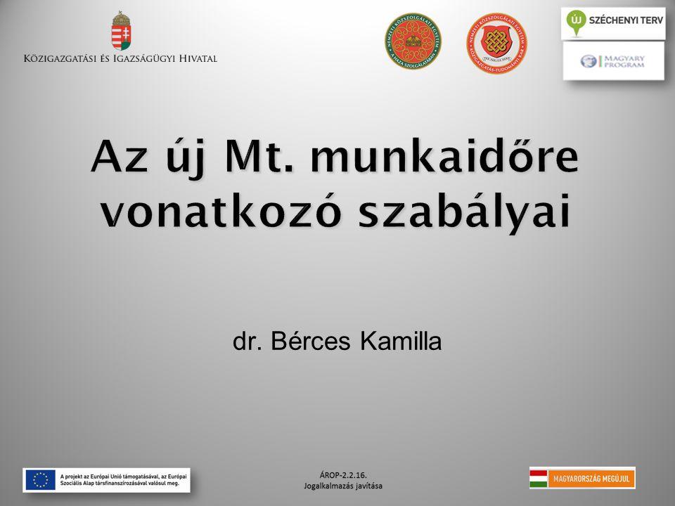 Az új Mt. munkaid ő re vonatkozó szabályai dr. Bérces Kamilla
