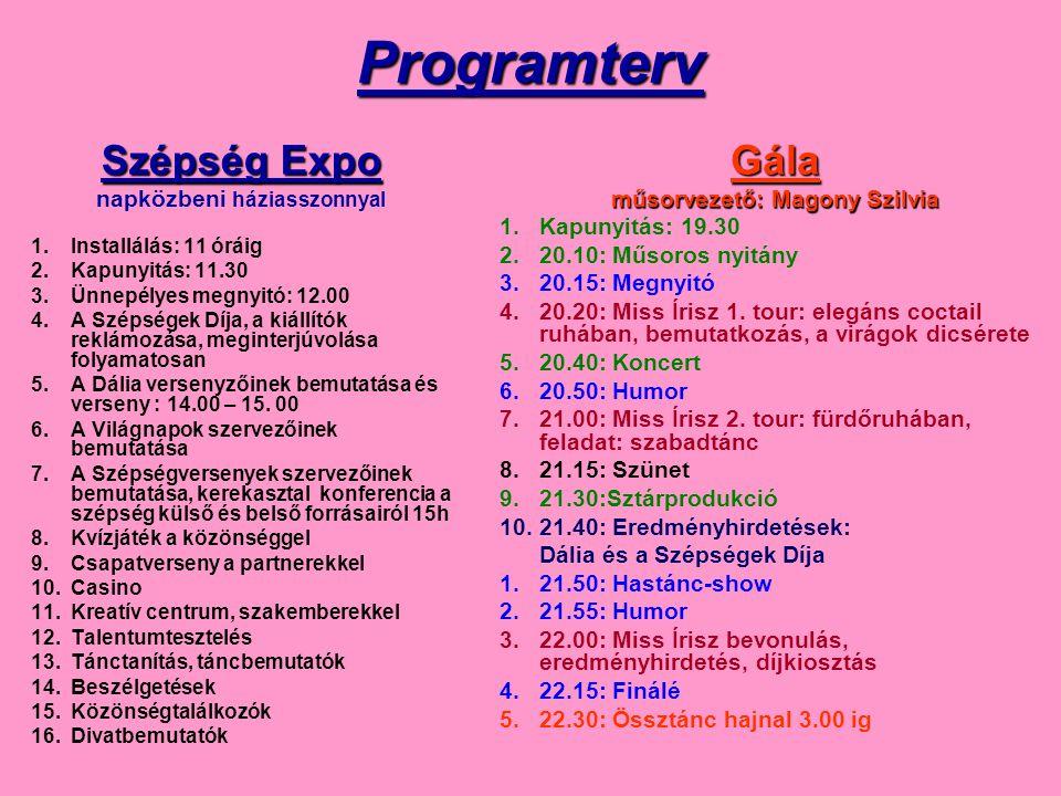 Programterv Szépség Expo napközbeni háziasszonnyal 1.Installálás: 11 óráig 2.Kapunyitás: 11.30 3.Ünnepélyes megnyitó: 12.00 4.A Szépségek Díja, a kiál