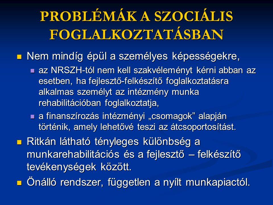 """PROBLÉMÁK A SZOCIÁLIS FOGLALKOZTATÁSBAN  Nem mindíg épül a személyes képességekre,  az NRSZH-tól nem kell szakvéleményt kérni abban az esetben, ha fejlesztő-felkészítő foglalkoztatásra alkalmas személyt az intézmény munka rehabilitációban foglalkoztatja,  a finanszírozás intézményi """"csomagok alapján történik, amely lehetővé teszi az átcsoportosítást."""