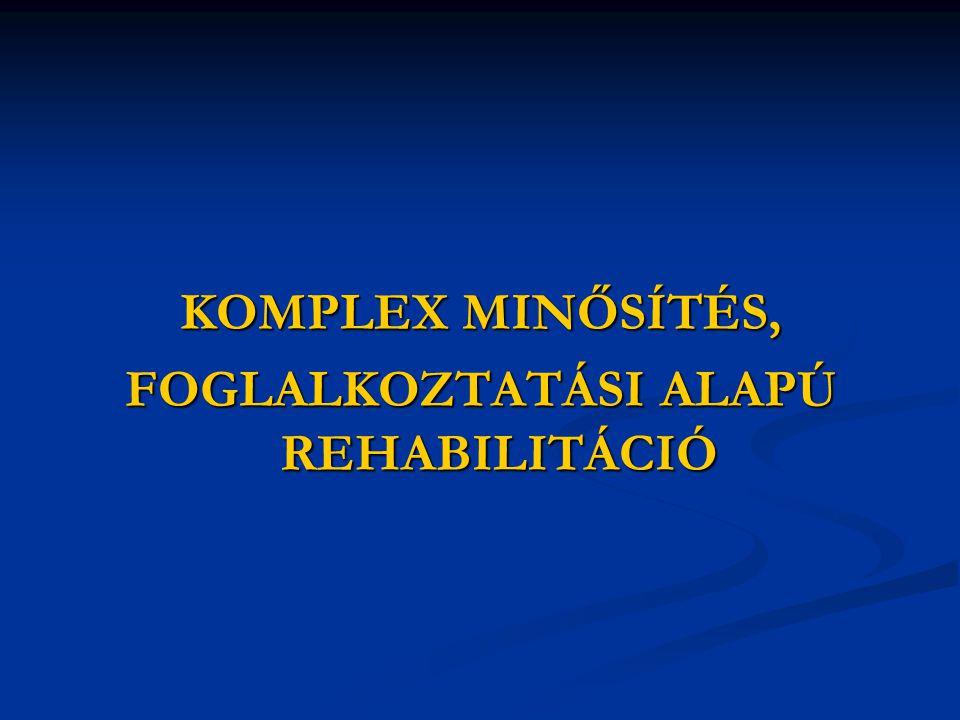 KOMPLEX MINŐSÍTÉS, FOGLALKOZTATÁSI ALAPÚ REHABILITÁCIÓ