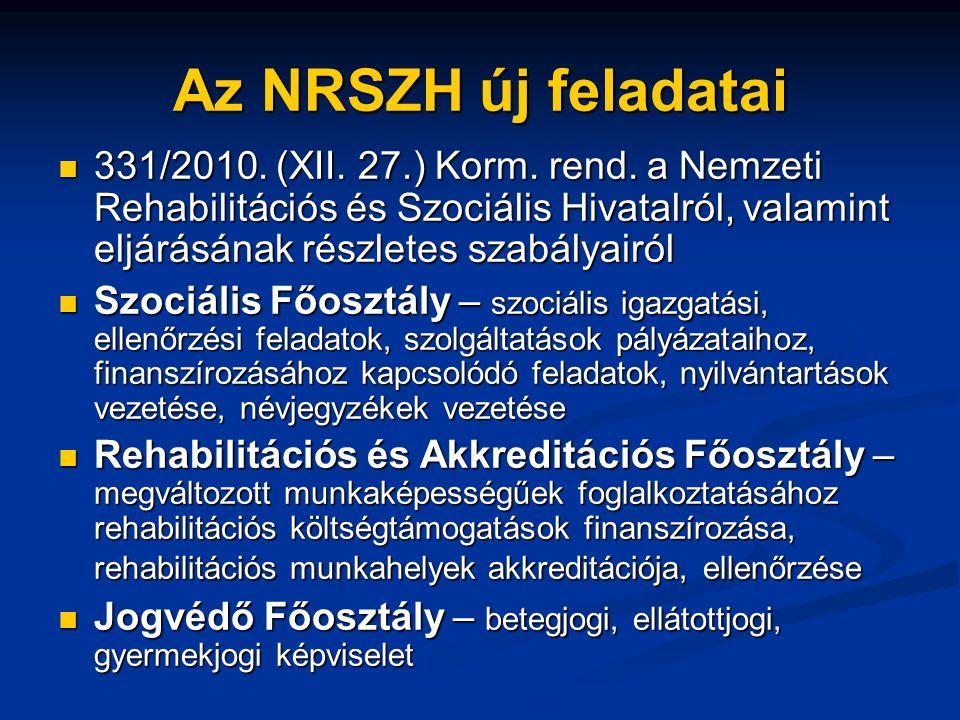 Az NRSZH új feladatai  331/2010. (XII. 27.) Korm. rend. a Nemzeti Rehabilitációs és Szociális Hivatalról, valamint eljárásának részletes szabályairól