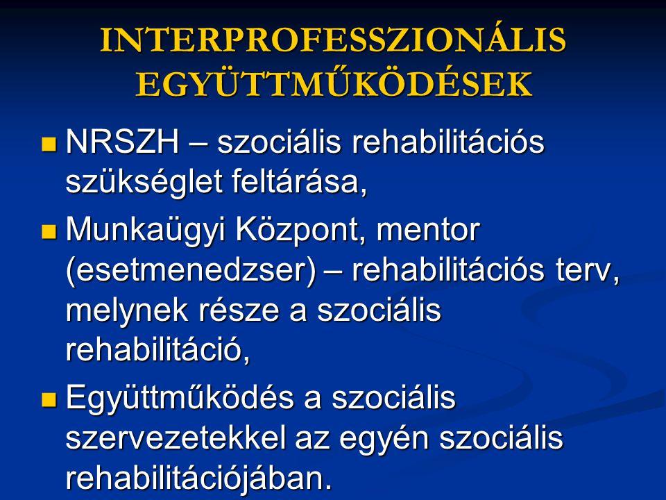 INTERPROFESSZIONÁLIS EGYÜTTMŰKÖDÉSEK  NRSZH – szociális rehabilitációs szükséglet feltárása,  Munkaügyi Központ, mentor (esetmenedzser) – rehabilitációs terv, melynek része a szociális rehabilitáció,  Együttműködés a szociális szervezetekkel az egyén szociális rehabilitációjában.