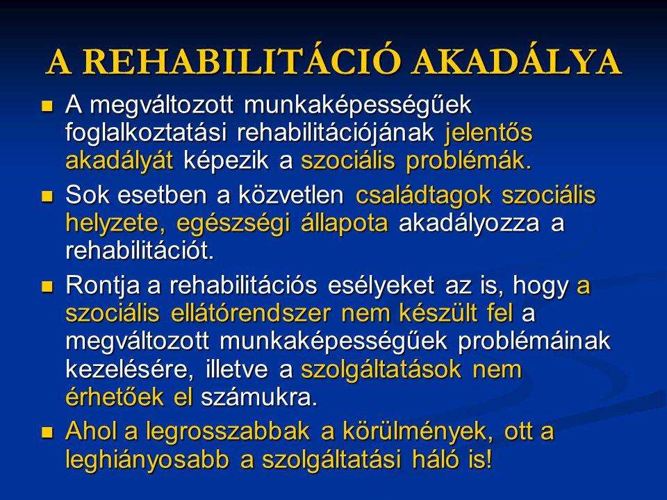 A REHABILITÁCIÓ AKADÁLYA  A megváltozott munkaképességűek foglalkoztatási rehabilitációjának jelentős akadályát képezik a szociális problémák.  Sok