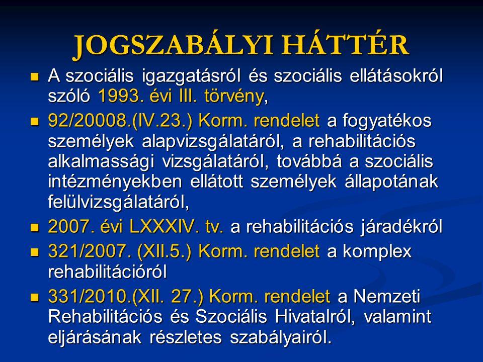 JOGSZABÁLYI HÁTTÉR  A szociális igazgatásról és szociális ellátásokról szóló 1993. évi III. törvény,  92/20008.(IV.23.) Korm. rendelet a fogyatékos