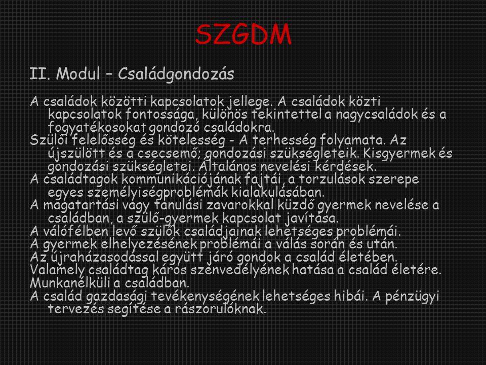 SZGDM II. Modul – Családgondozás A családok közötti kapcsolatok jellege.