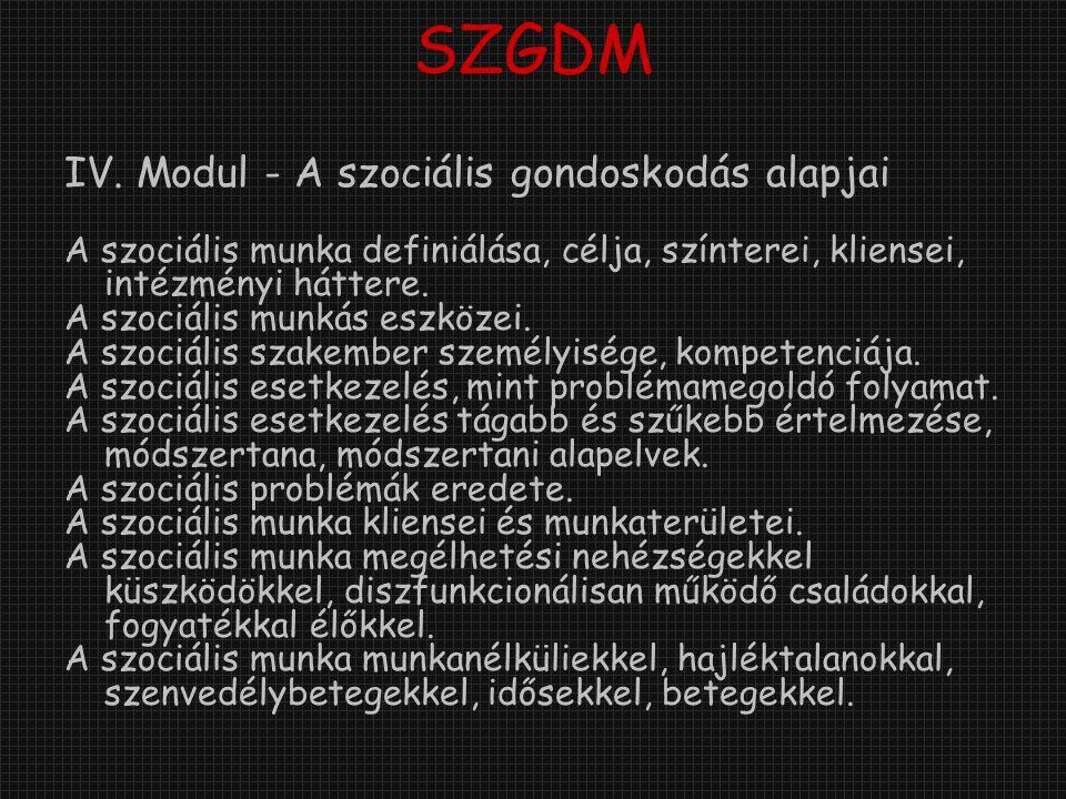 SZGDM IV. Modul - A szociális gondoskodás alapjai A szociális munka definiálása, célja, színterei, kliensei, intézményi háttere. A szociális munkás es