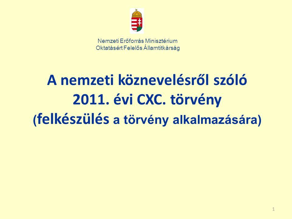 1 A nemzeti köznevelésről szóló 2011. évi CXC. törvény ( felkészülés a törvény alkalmazására) Nemzeti Erőforrás Minisztérium Oktatásért Felelős Államt
