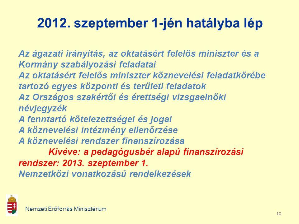 10 2012. szeptember 1-jén hatályba lép Nemzeti Erőforrás Minisztérium Az ágazati irányítás, az oktatásért felelős miniszter és a Kormány szabályozási