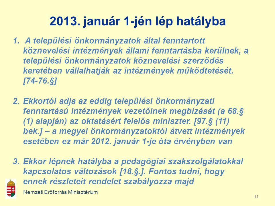11 2013. január 1-jén lép hatályba Nemzeti Erőforrás Minisztérium 1. A települési önkormányzatok által fenntartott köznevelési intézmények állami fenn