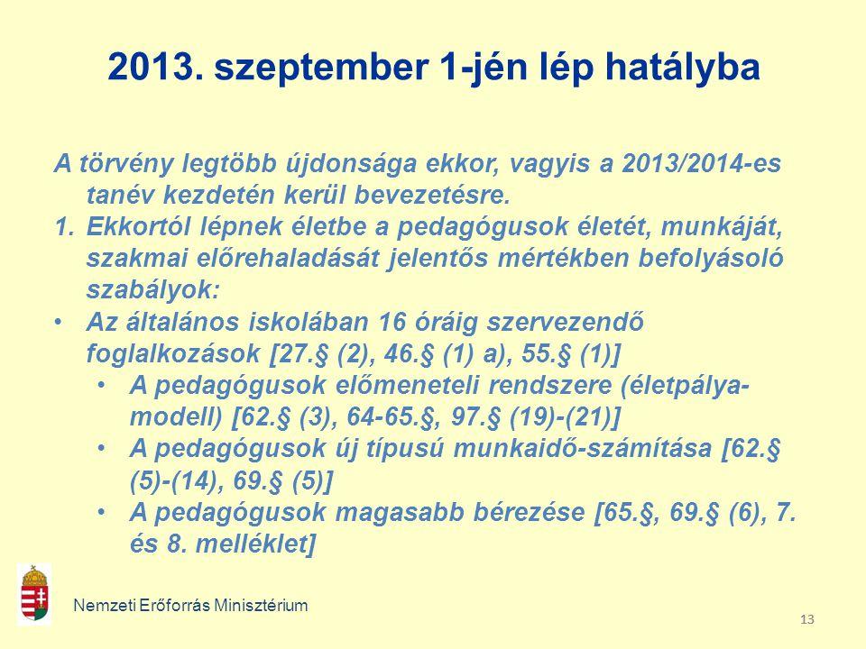 13 2013. szeptember 1-jén lép hatályba Nemzeti Erőforrás Minisztérium A törvény legtöbb újdonsága ekkor, vagyis a 2013/2014-es tanév kezdetén kerül be