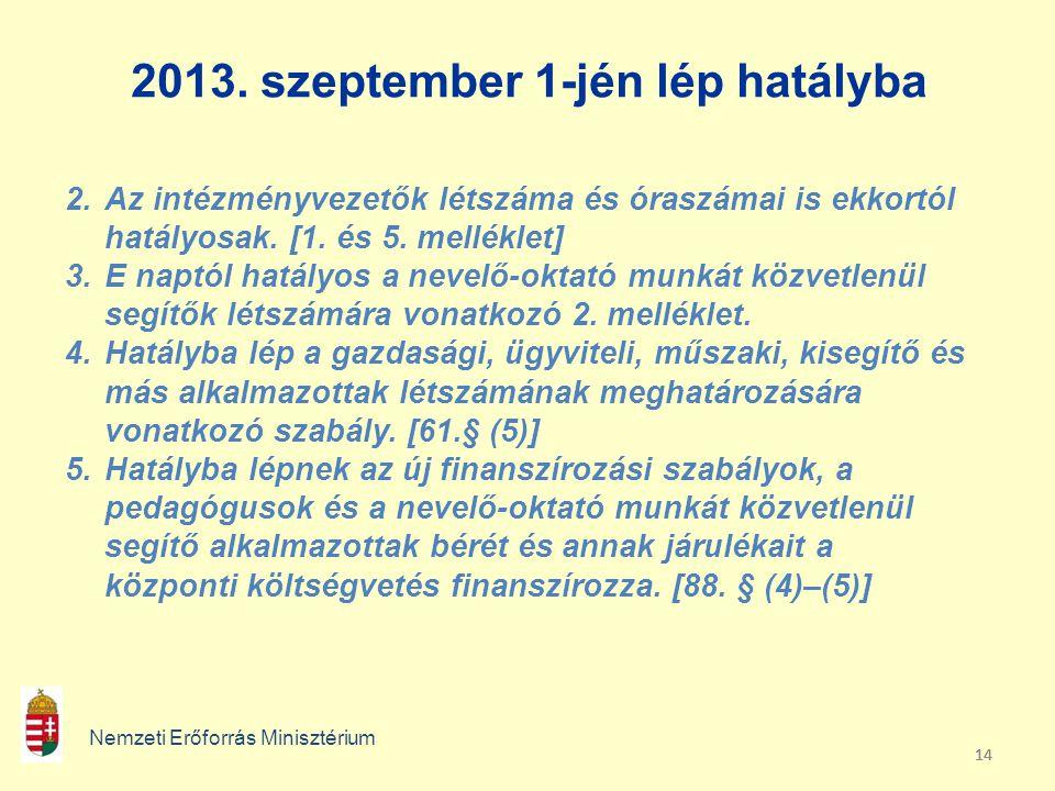 14 2013. szeptember 1-jén lép hatályba Nemzeti Erőforrás Minisztérium 2.Az intézményvezetők létszáma és óraszámai is ekkortól hatályosak. [1. és 5. me