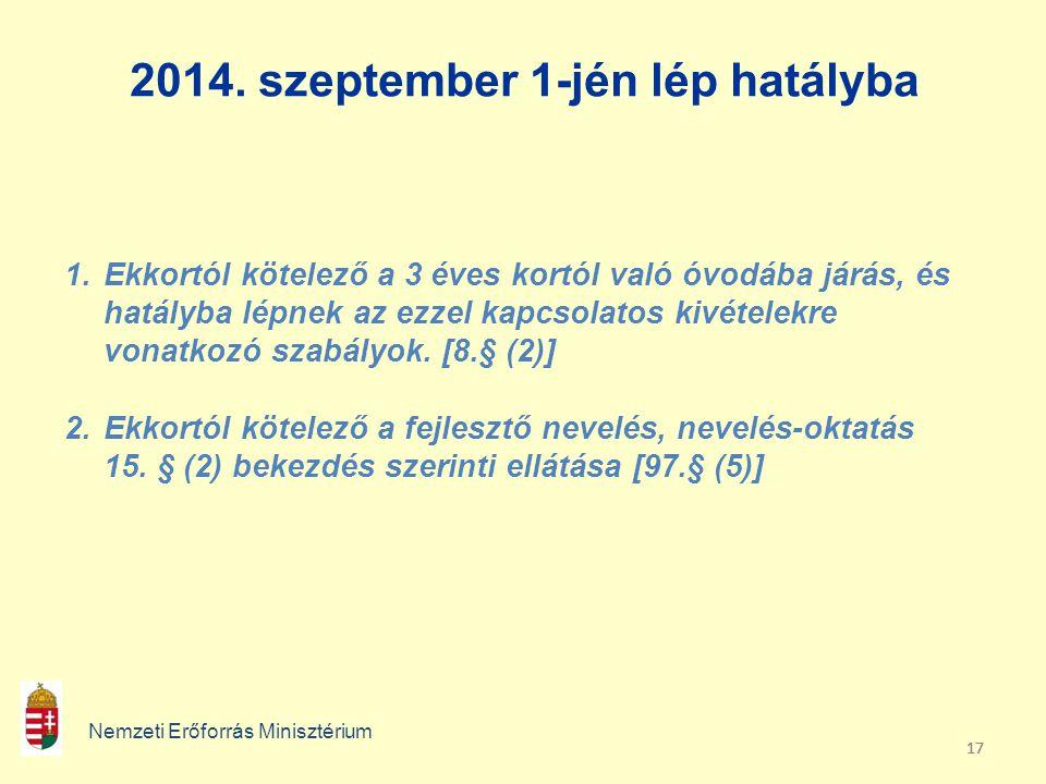 17 2014. szeptember 1-jén lép hatályba Nemzeti Erőforrás Minisztérium 1.Ekkortól kötelező a 3 éves kortól való óvodába járás, és hatályba lépnek az ez