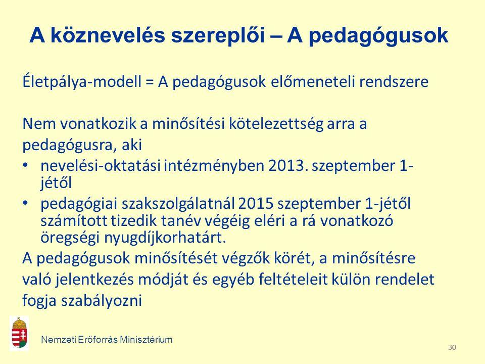 30 A köznevelés szereplői – A pedagógusok Életpálya-modell = A pedagógusok előmeneteli rendszere Nem vonatkozik a minősítési kötelezettség arra a peda