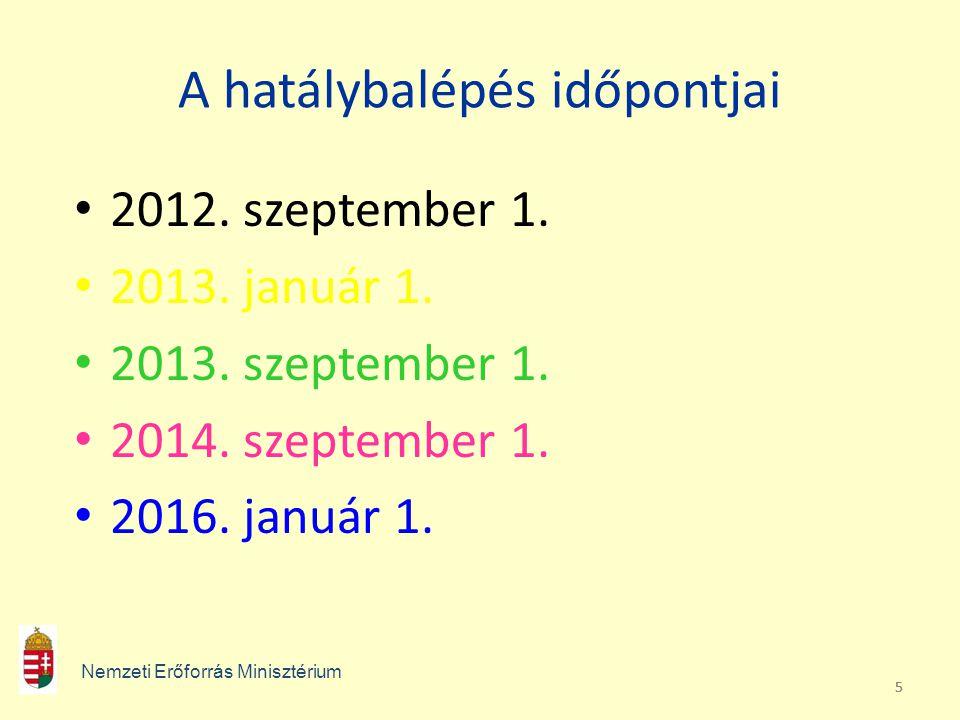 555 A hatálybalépés időpontjai • 2012. szeptember 1. • 2013. január 1. • 2013. szeptember 1. • 2014. szeptember 1. • 2016. január 1. Nemzeti Erőforrás