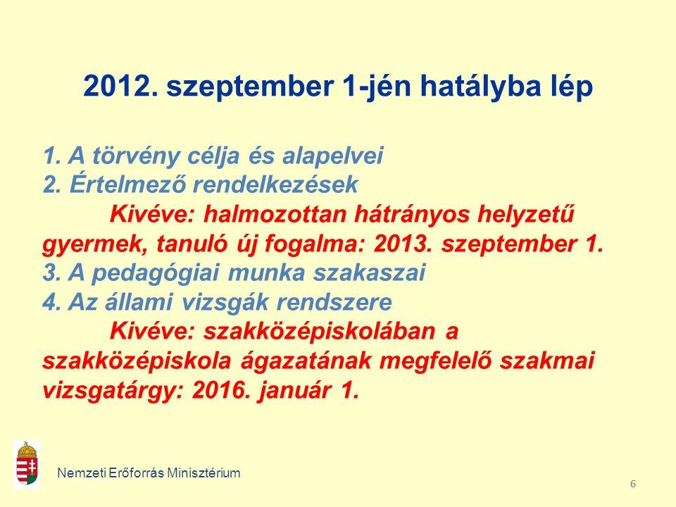 666 2012. szeptember 1-jén hatályba lép Nemzeti Erőforrás Minisztérium 1. A törvény célja és alapelvei 2. Értelmező rendelkezések Kivéve: halmozottan