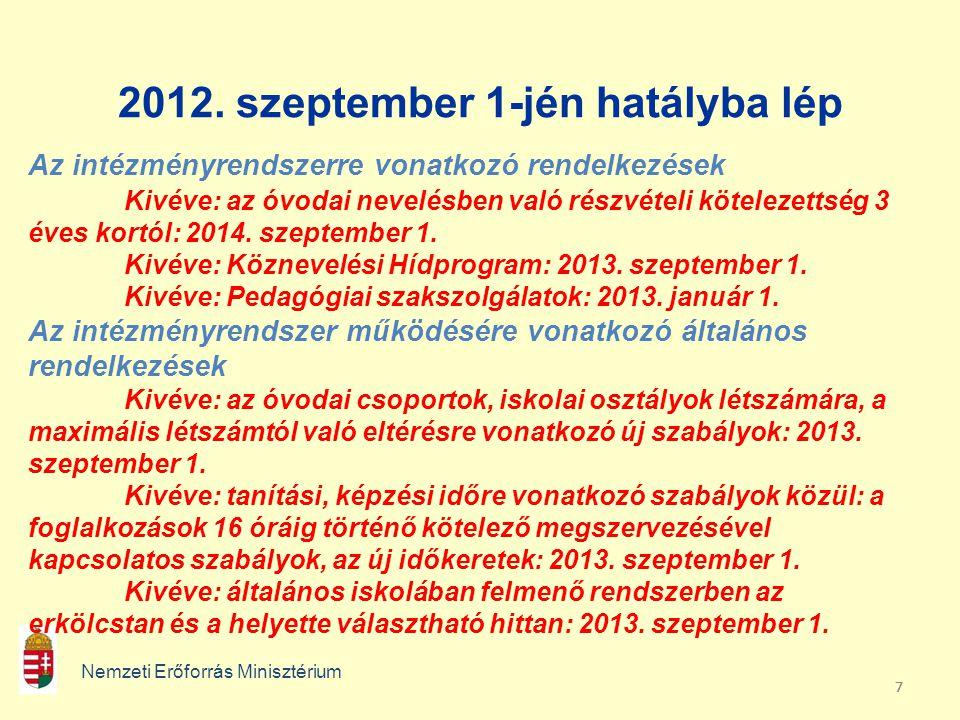 777 2012. szeptember 1-jén hatályba lép Nemzeti Erőforrás Minisztérium Az intézményrendszerre vonatkozó rendelkezések Kivéve: az óvodai nevelésben val