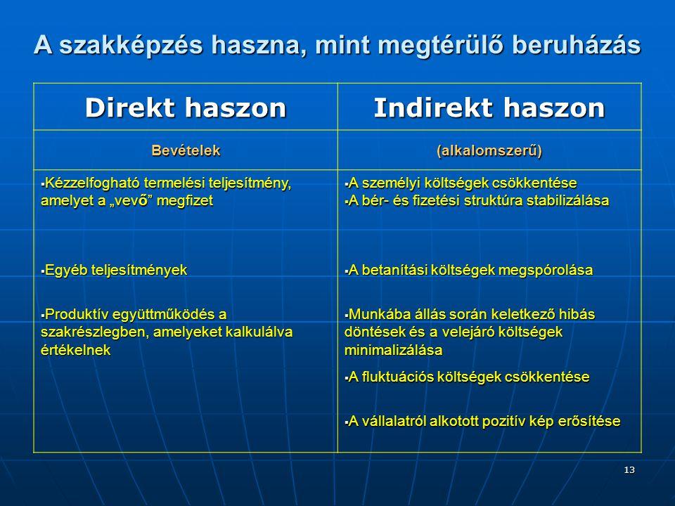 13 A szakképzés haszna, mint megtérülő beruházás Direkt haszon Indirekt haszon Bevételek(alkalomszerű)  Kézzelfogható termelési teljesítmény, amelyet