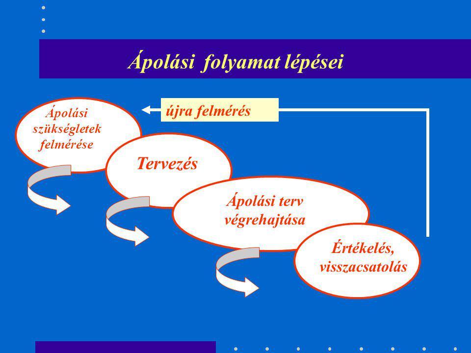 Ápolási folyamat lépései Ápolási szükségletek felmérése Tervezés Ápolási terv végrehajtása Értékelés, visszacsatolás újra felmérés