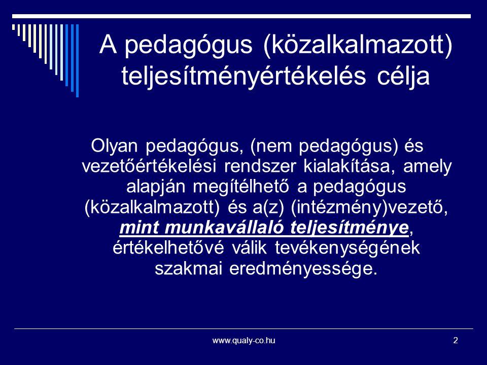 www.qualy-co.hu2 A pedagógus (közalkalmazott) teljesítményértékelés célja Olyan pedagógus, (nem pedagógus) és vezetőértékelési rendszer kialakítása, a