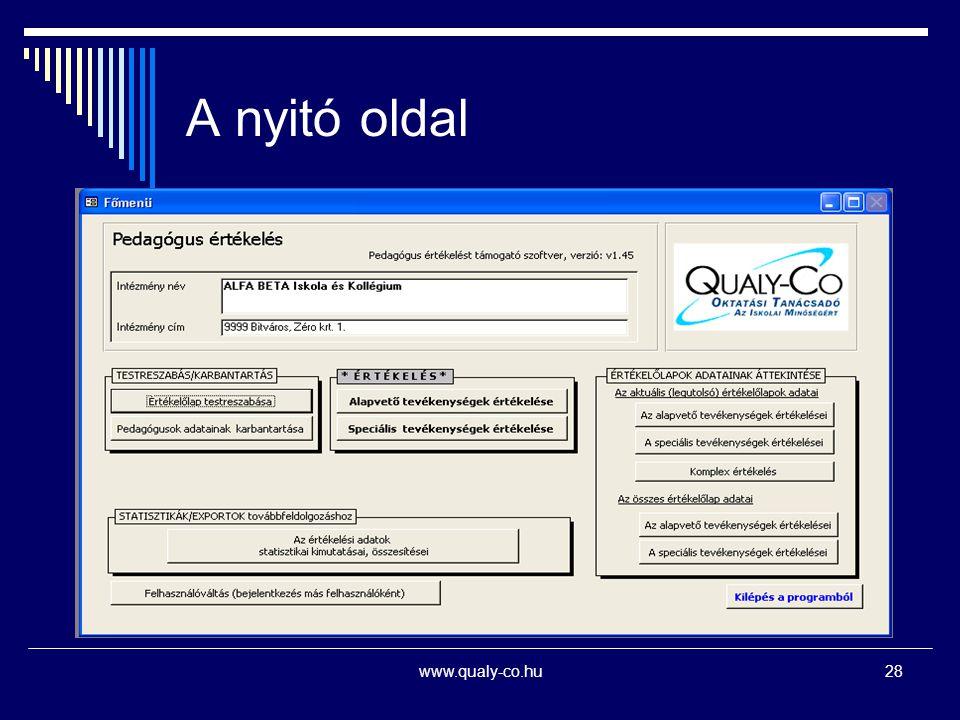 A nyitó oldal www.qualy-co.hu28
