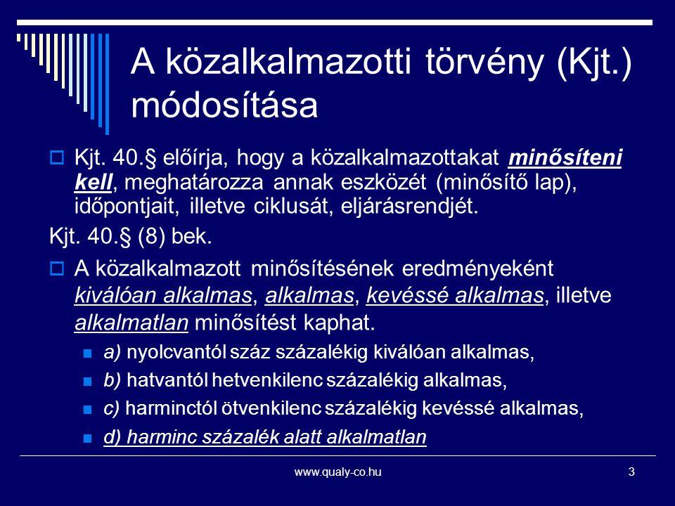 www.qualy-co.hu3 A közalkalmazotti törvény (Kjt.) módosítása  Kjt. 40.§ előírja, hogy a közalkalmazottakat minősíteni kell, meghatározza annak eszköz