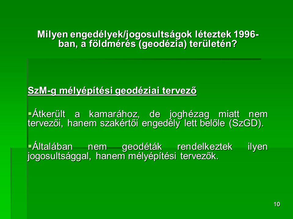 10 Milyen engedélyek/jogosultságok léteztek 1996- ban, a földmérés (geodézia) területén? SzM-g mélyépítési geodéziai tervező  Átkerült a kamarához, d