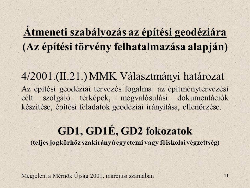 11 Átmeneti szabályozás az építési geodéziára (Az építési törvény felhatalmazása alapján) 4/2001.(II.21.) MMK Választmányi határozat Az építési geodéz