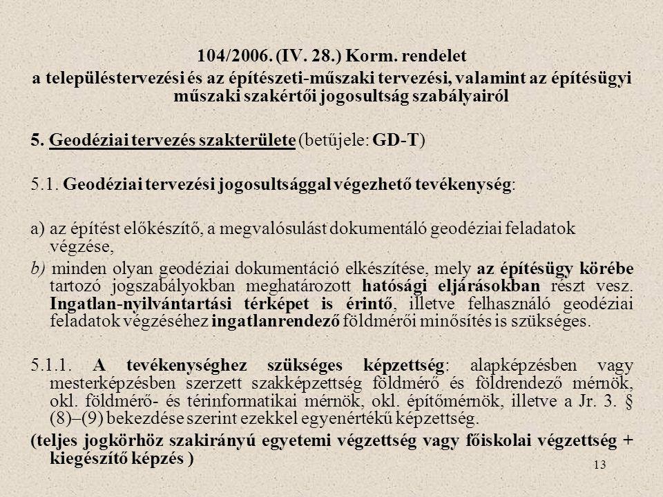 13 104/2006. (IV. 28.) Korm. rendelet a településtervezési és az építészeti-műszaki tervezési, valamint az építésügyi műszaki szakértői jogosultság sz