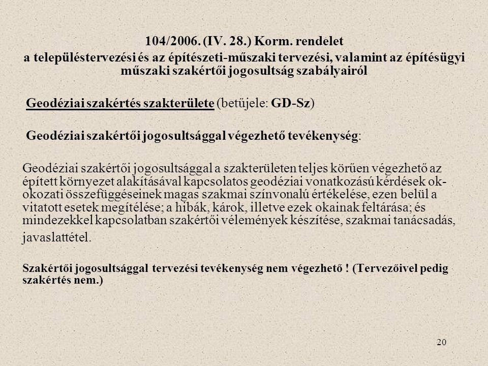 20 104/2006. (IV. 28.) Korm. rendelet a településtervezési és az építészeti-műszaki tervezési, valamint az építésügyi műszaki szakértői jogosultság sz
