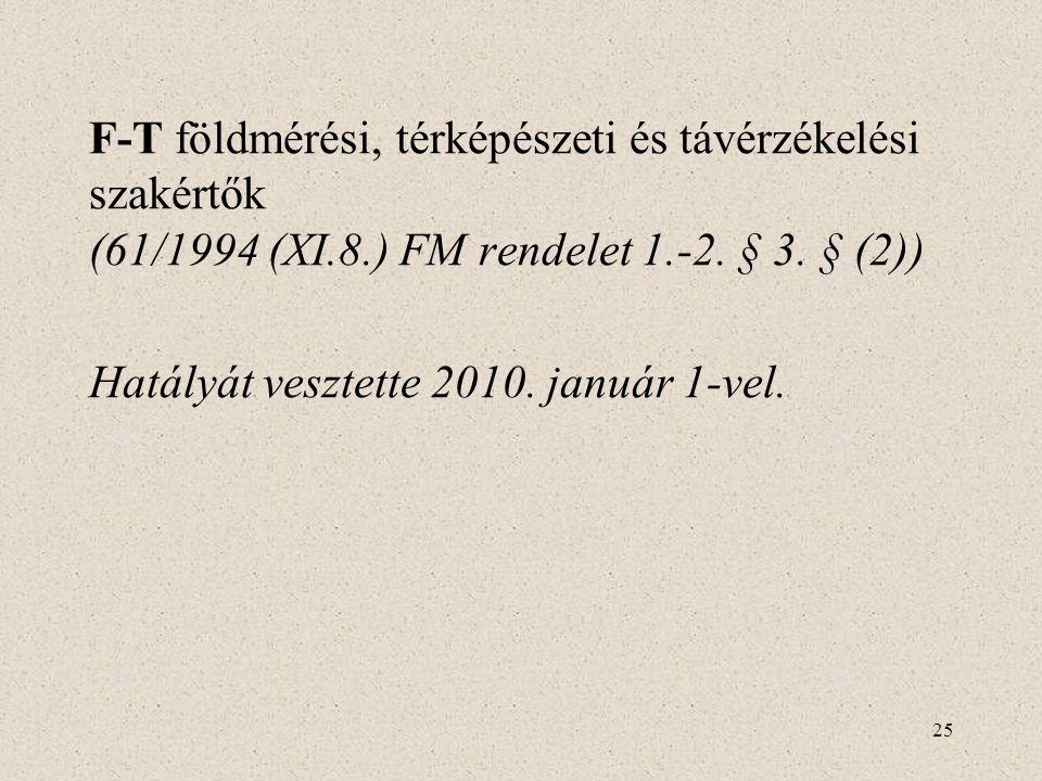 25 F-T földmérési, térképészeti és távérzékelési szakértők (61/1994 (XI.8.) FM rendelet 1.-2. § 3. § (2)) Hatályát vesztette 2010. január 1-vel.
