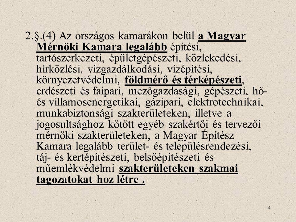 4 2.§.(4) Az országos kamarákon belül a Magyar Mérnöki Kamara legalább építési, tartószerkezeti, épületgépészeti, közlekedési, hírközlési, vízgazdálko