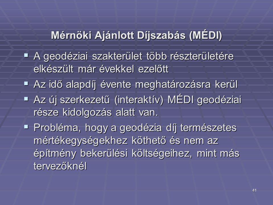 41 Mérnöki Ajánlott Díjszabás (MÉDI)  A geodéziai szakterület több részterületére elkészült már évekkel ezelőtt  Az idő alapdíj évente meghatározásr
