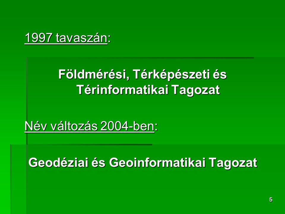 5 1997 tavaszán: Földmérési, Térképészeti és Térinformatikai Tagozat Név változás 2004-ben: Geodéziai és Geoinformatikai Tagozat