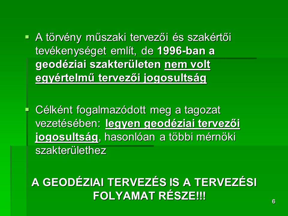6  A törvény műszaki tervezői és szakértői tevékenységet említ, de 1996-ban a geodéziai szakterületen nem volt egyértelmű tervezői jogosultság  Célk