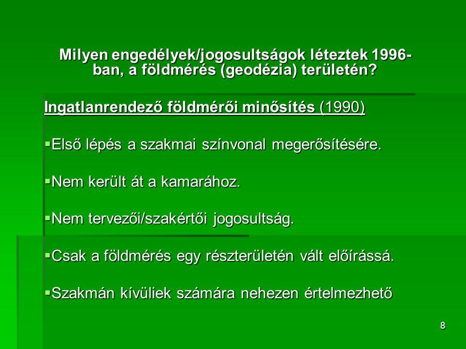 8 Milyen engedélyek/jogosultságok léteztek 1996- ban, a földmérés (geodézia) területén? Ingatlanrendező földmérői minősítés (1990)  Első lépés a szak
