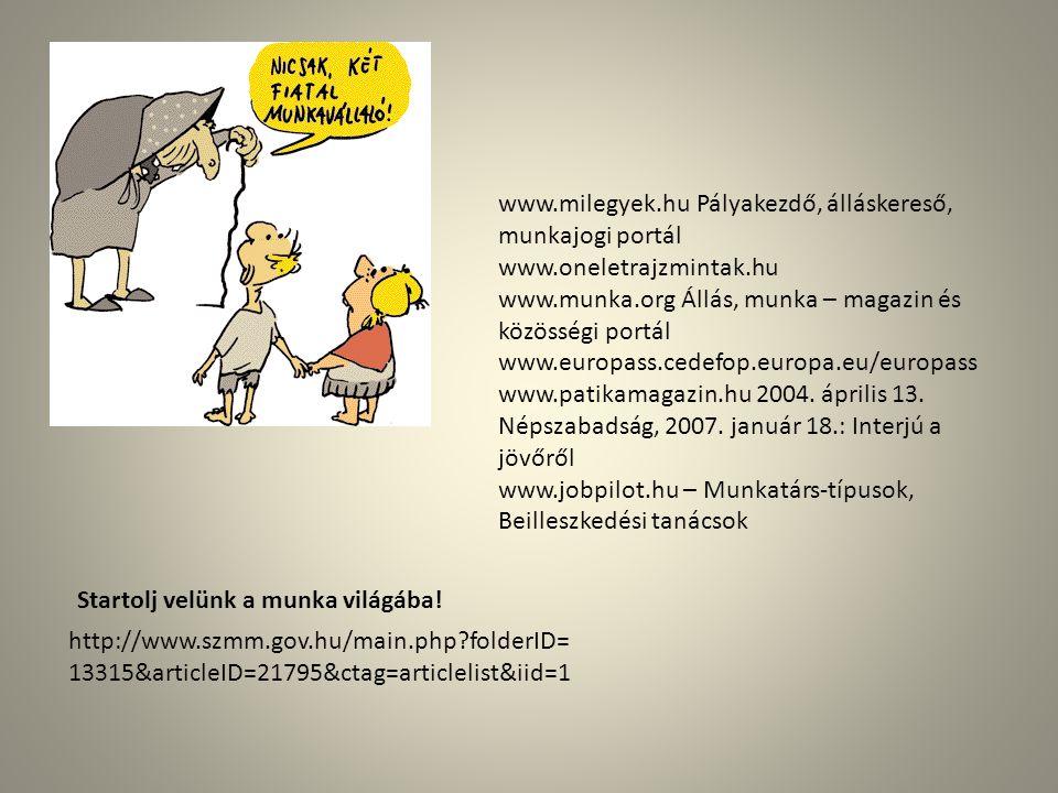 www.milegyek.hu Pályakezdő, álláskereső, munkajogi portál www.oneletrajzmintak.hu www.munka.org Állás, munka – magazin és közösségi portál www.europass.cedefop.europa.eu/europass www.patikamagazin.hu 2004.