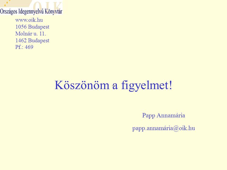 –– Köszönöm a figyelmet. Papp Annamária papp.annamária@oik.hu www.oik.hu 1056 Budapest Molnár u.