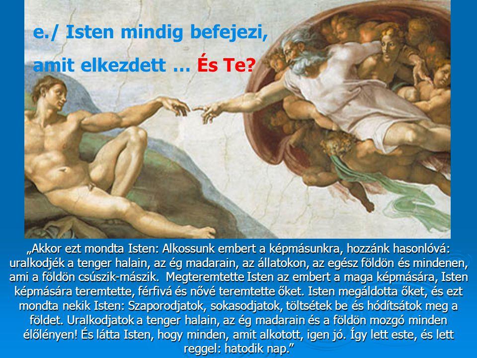 """""""Akkor ezt mondta Isten: Alkossunk embert a képmásunkra, hozzánk hasonlóvá: uralkodjék a tenger halain, az ég madarain, az állatokon, az egész földön"""