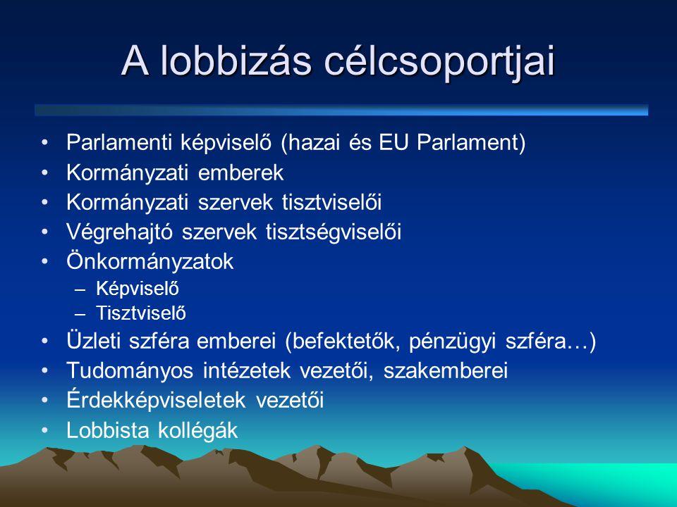 A lobbizás célcsoportjai •Parlamenti képviselő (hazai és EU Parlament) •Kormányzati emberek •Kormányzati szervek tisztviselői •Végrehajtó szervek tisztségviselői •Önkormányzatok –Képviselő –Tisztviselő •Üzleti szféra emberei (befektetők, pénzügyi szféra…) •Tudományos intézetek vezetői, szakemberei •Érdekképviseletek vezetői •Lobbista kollégák