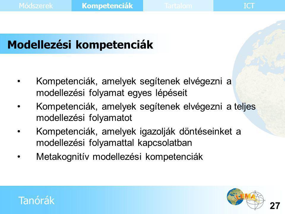 Tanórák Kompetenciák 27 ICTMódszerekTartalom •Kompetenciák, amelyek segítenek elvégezni a modellezési folyamat egyes lépéseit •Kompetenciák, amelyek segítenek elvégezni a teljes modellezési folyamatot •Kompetenciák, amelyek igazolják döntéseinket a modellezési folyamattal kapcsolatban •Metakognitív modellezési kompetenciák Modellezési kompetenciák