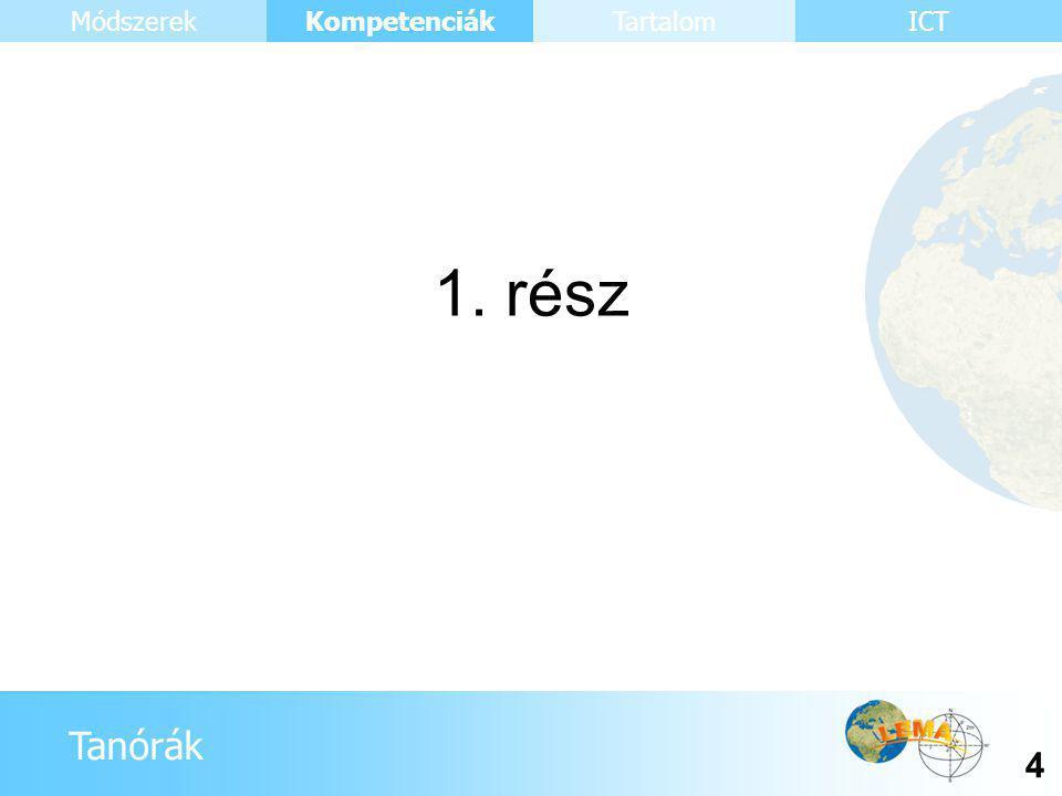 Tanórák Kompetenciák 4 ICTMódszerekTartalom 1. rész