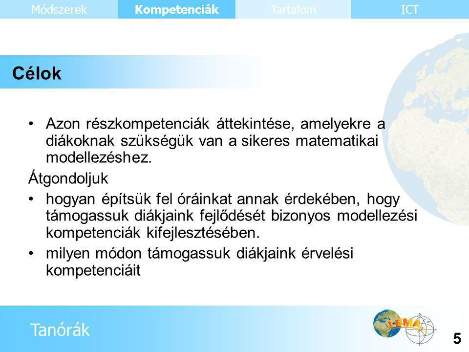 Tanórák Kompetenciák 26 ICTMódszerekTartalom 2. rész Metakogníció
