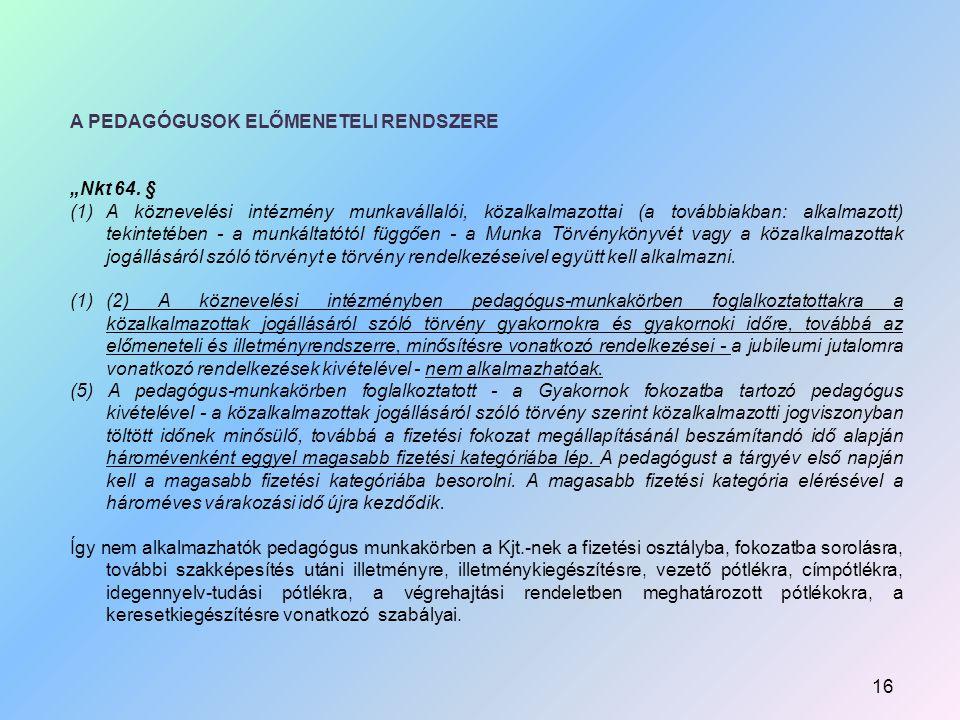 """A PEDAGÓGUSOK ELŐMENETELI RENDSZERE """"Nkt 64."""