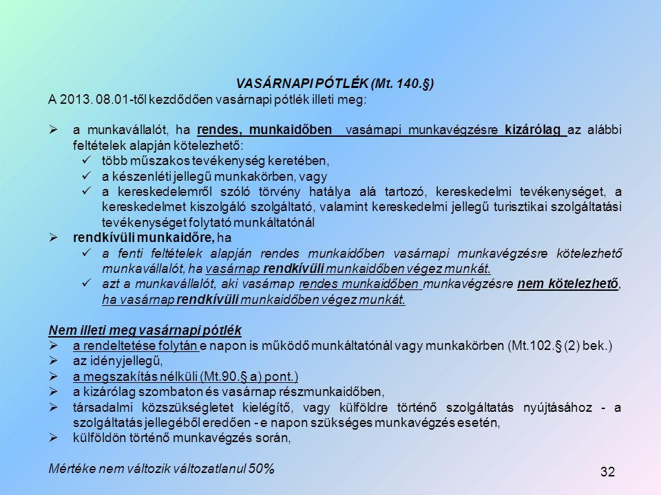 VASÁRNAPI PÓTLÉK (Mt.140.§) A 2013.