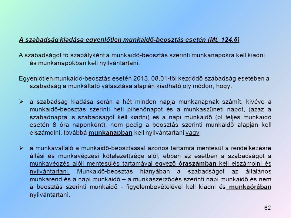 A szabadság kiadása egyenlőtlen munkaidő-beosztás esetén (Mt.