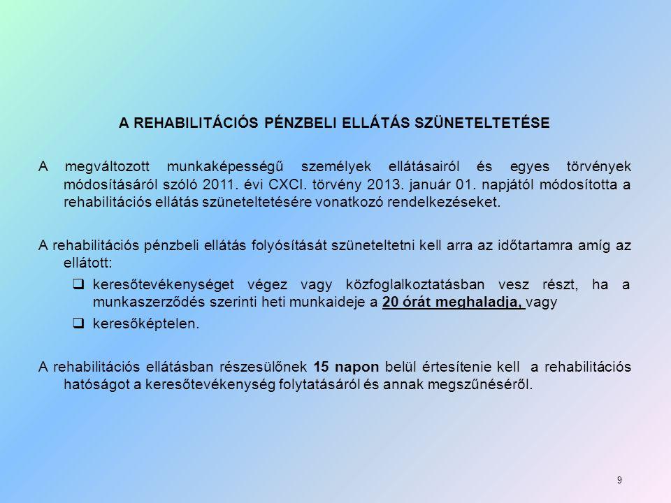 A REHABILITÁCIÓS PÉNZBELI ELLÁTÁS SZÜNETELTETÉSE A megváltozott munkaképességű személyek ellátásairól és egyes törvények módosításáról szóló 2011.