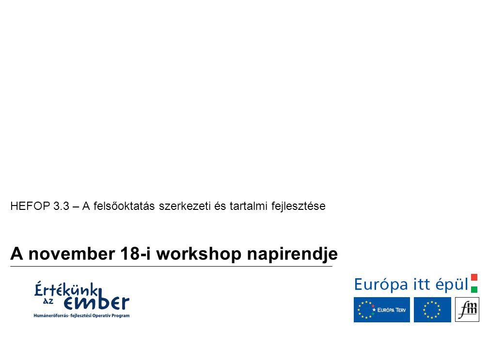 A november 18-i workshop napirendje HEFOP 3.3 – A felsőoktatás szerkezeti és tartalmi fejlesztése